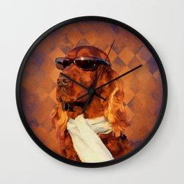 Irish Setter Dog - Sunglasses and Scarf Wall Clock