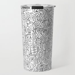 Graffiti Black and White Pattern Doodle Hand Designed Scan Travel Mug