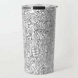 Graffiti Black and White Pattern Doodle Hand Designed Scan Travel Mug