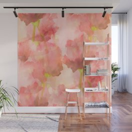 Delicate Pink Watercolor Floral Abstract Wall Mural