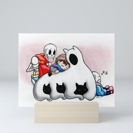 Undertale napping with Friends Mini Art Print