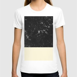 Light Blush Yellow Meets Black Marble #1 #decor #art #society6 T-shirt