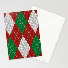 Knitted argyle Christmas sweater pattern on red Stationery Cards