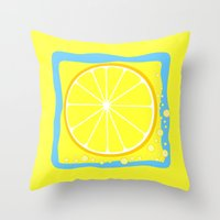 coasters Throw Pillows featuring LEMON by Tanya Pligina