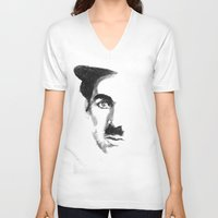 charlie chaplin V-neck T-shirts featuring Chaplin by josie leigh