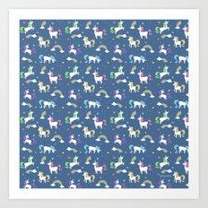 Unicorns and Rainbows - blue -tiny Art Print