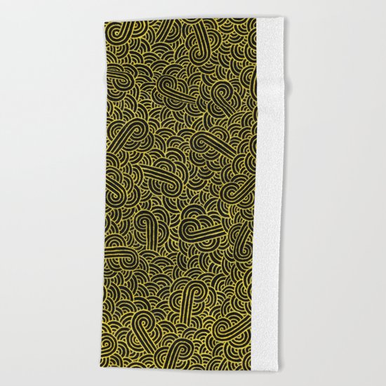 Black and faux gold swirls doodles Beach Towel