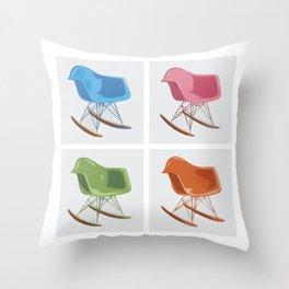 Mid-century Rocker Chairs Throw Pillow