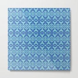 Vintage elegant pattern blue Metal Print