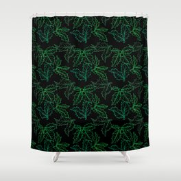 Holly Sprigs (Black Glow) - Forest Shower Curtain