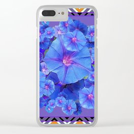 Purple Western Pattern Blue Morning Glory Floral Art Clear iPhone Case
