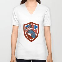 british flag V-neck T-shirts featuring British Bobby Policeman Truncheon Flag Shield Retro by patrimonio