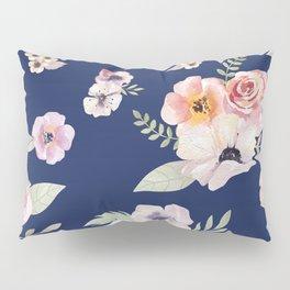 Floral I - Dark New Navy Pillow Sham