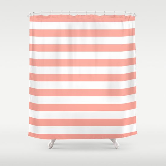 Simply Striped In Salmon Pink And White Shower Curtain By Simple Luxe Society6