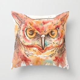 Watercolor Owl Throw Pillow
