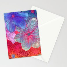 Between the Lines 2 - tropical flowers in purple, pink, blue & orange Stationery Cards