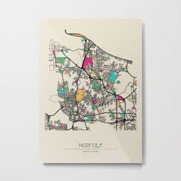 Colorful City Maps: Norfolk, Virginia Metal Print