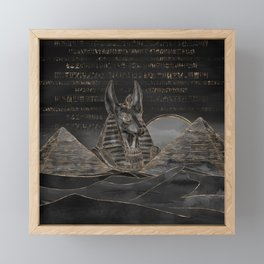 Anubis on Egyptian pyramids landscape Framed Mini Art Print