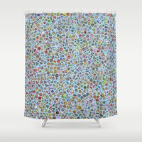 misfits Shower Curtains featuring Enfu Whimsical Misfits Pattern by enfu