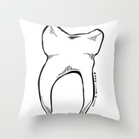 tooth Throw Pillows featuring Tooth by Addison Karl