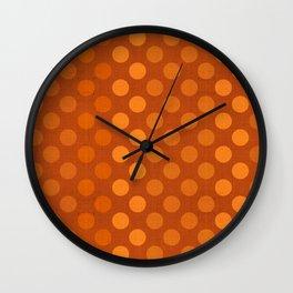 """Orange Burlap Texture & Polka Dots"" Wall Clock"