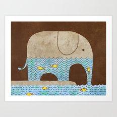 Thirsty Elephant - colour option Art Print