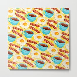 Coffee, Bacon & Eggs Pattern - Yellow Check Metal Print