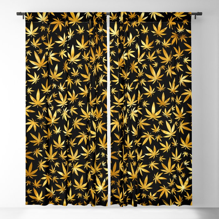 Black Gold Weed Pattern Blackout Curtain