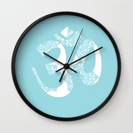 Om Hindi word on blue, floral Wall Clock