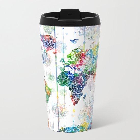 world map mandala white Metal Travel Mug
