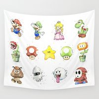 luigi Wall Tapestries featuring Mario Characters Watercolor  by Olechka