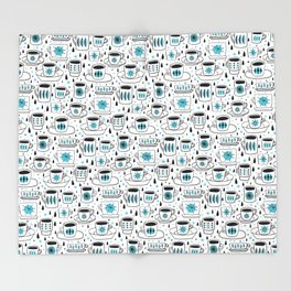 Retro coffee cups teal Throw Blanket
