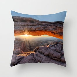 Mesa Arch Sunburst Canyonlands National Park.  by Lena Owens Throw Pillow