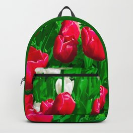 Vibrant Red And White Floral - Tulip Festival Backpack