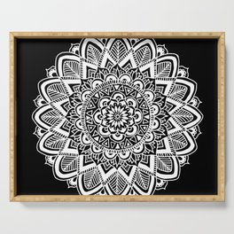 Black and White Boho Mandala Serving Tray