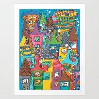 the neighbourhood Art Prints featuring Neighbourhood by Raquel Benmergui