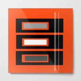 Retro Abstract Tiki Print on Orange Metal Print