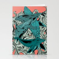 whales Stationery Cards featuring Whales by melcsee