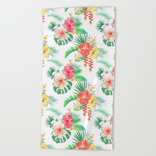 tropical watercolor floral pattern Beach Towel