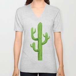 Green Cactus on Black Unisex V-Neck