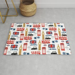 London travel pattern cute england print for nursery kids room boys or girls decor Rug