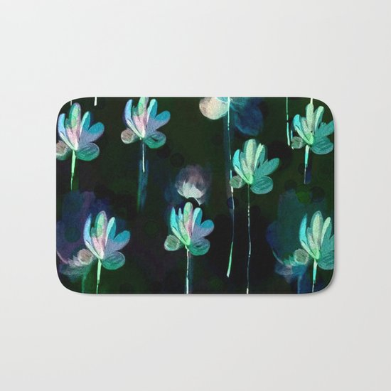 Painterly Evening Floral Abstract Bath Mat