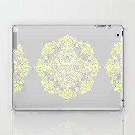 Pale Lemon Yellow Lace Mandala on Grey Laptop & iPad Skin