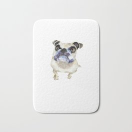 Pet British bulldog watercolor art illustration Bath Mat