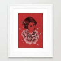 peony Framed Art Prints featuring Peony by The White Deer