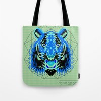 thundercats Tote Bags featuring Geometric Tiger by chobopop