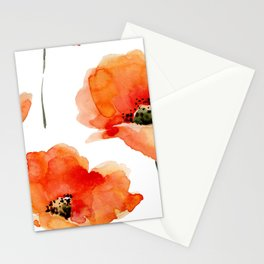 Modern hand painted orange watercolor poppies pattern Stationery Cards