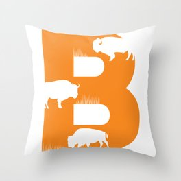 B is for Bison - Animal Alphabet Series Throw Pillow