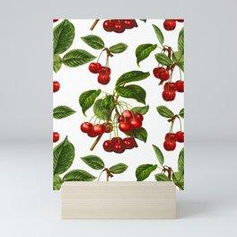 Vintage Botanical Cherries Print on White Mini Art Print