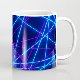 Neon Abstract Line -Blue and Purple, Black- Coffee Mug